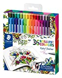 Staedtler 334 Triplus Fineliner Superfine Point Pens, 0.3 mm, Assorted Colours, Pack of 36, Johanna Basford Edition
