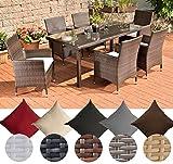 CLP Polyrattan-Gartenmöbel Florenz | Robuste Gartengarnitur mit Aluminiumgestell | 7 teiliges Garten-Set erhältlich Rattanfarbe: Grau, Bezugfarbe: Anthrazit