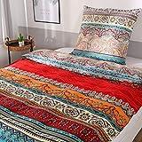 Qucover Bettwäsche 135 x 200 cm 100% Baumwolle Bunt Boho Stil Bettbezug mit Reißverschluss mit Kissenbezug 80 x 80 cm für Winter