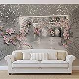 Schnee Blumen und Silbernen Kugeln - Wallsticker Warehouse - Fototapete - Tapete - Fotomural - Mural Wandbild - (3360WM) - XXL - 312cm x 219cm - VLIES (EasyInstall) - 3 Pieces
