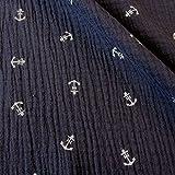 Stoff Meterware Baumwolle Musselin blau Anker weiß marine