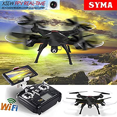 Syma X5SW WIFI FPV 2.4Ghz 4CH 6-Axis RC Quadcopter Drone Camera HD Black RTF.
