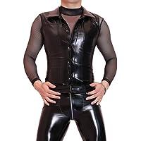 LinvMe Men's Fashion Wet Look Faux Leather PVC Front Buckle Vest