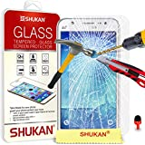 Samsung Galaxy J5 Tempered Glass Crystal Clear LCD Screen Protector Guard & Polishing Cloth + RED 2 IN 1 Dust Stopper SVL3 BY SHUKAN®, (TEMPERED GLASS)
