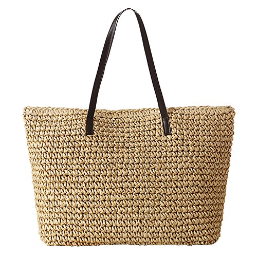 Tininna donne estate elegante semplice borsa da spiaggia borse di paglia tempo libero vacanze borsa a tracolla sacchetto tote di viaggio(beige)