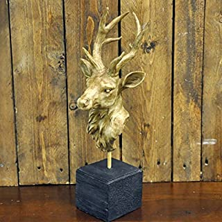 Brown Painted Deer Stags Animal Head Bust on Stand
