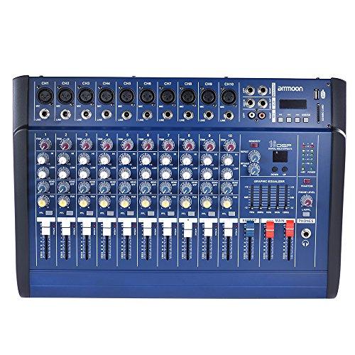 ammoon 10 Kanäle Power Mixer Verstärker Digital-Audio-Mischpult Amp mit 48V Phantomspeisung USB / SD-Slot für die Aufnahme DJ Bühne Karaoke