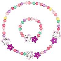 Amosfun Holz Kinder Schmuck Set Einhorn Perlen Halskette und Armband Geschenk für Mädchen Geburtstag Party Dress Up…