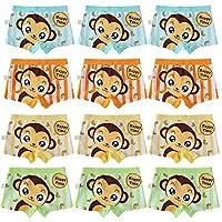 USex Sense 12 Pack Boys Boxer Shorts Cotton Cartoon Underwear Size 2-12 years (XL (9-12years), Mixed 1413)