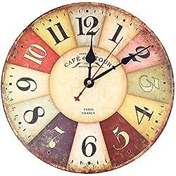 Soledi Reloj de Pared de Cuarzo Estilo Toscano Vintage Francesa Paris Reloj de Madera 30 cm