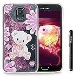 Slynmax Galaxy S5 Hülle Durchsichtig TPU Glitzer Liquid Case Silikon Schutzhülle für Samsung Galaxy S5 / S5 Neo Bumper Handyhülle Tasche Dual-Layer Treibsand Shell(Lila Bear)