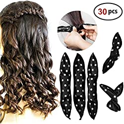 HailiCare 30 Pcs Bigoudis de Cheveux Flexible Bigoudis en Eponge Souples Rouleux de Cheveux Outils de Coiffure Hair Curlers DIY Coiffure Noir