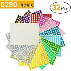 Gommettes Rondes Autocollantes 1cm Gommette 16 Couleurs Étiquette Ronde Pastille Autocollante Stickers Enfants Creatifs 5280 pcs 32 Feuilles