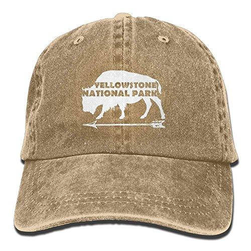 Stone National Park Old Faithful Buffalo Plain Adjustable Cowboy Cap Denim Hat for Women and Men C2 - Buffalo Fitted T-shirt