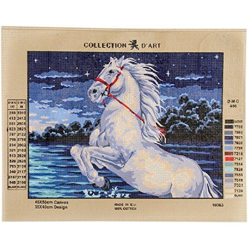 Collection D'Art CD10363 Leinwand für Stiekerei mit Gedruckten Muster, Gobelin, Baumwolle, Antik, 40 x 50 x 0,1 cm (Gobelin-bank)