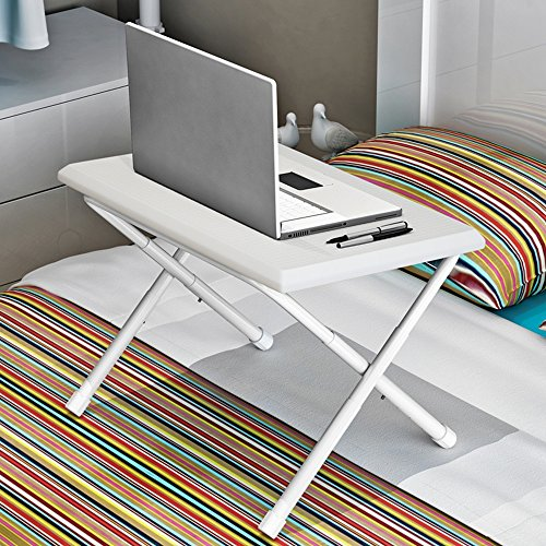 Feifei Plaques en Plastique Pliable Simple Tables d'ordinateur Portable Lit avec Une Petite Table Dortoir Bureau Paresseux économiser de l'espace (Couleur : B)