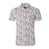 NUTEXROL Camisa de Hombre Camisas Hawaianas Camisas Estampadas de Hombre Camisa de Verano con Diseño Especial, Camiseta Casual de Manga Corta, Blanco, L
