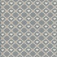 Tessuto grigio taupe, beige e bianco crema RETICOLO CON CUORI (Alpi - grigio, taupe, beige e bianco)   100% puro cotone   larghezza: 140 cm (1 metro), a metro / metraggio