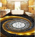Weaeo 3D Photo Wallpaper Custom 3D Peinture Revêtement Muraux Papier Peint Escalier Spirale D'Or Pour Attirer D 3 Carreau De Sol Salle 3D Wallpaper-350X250Cm...