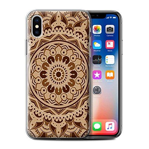 Stuff4 Gel TPU Hülle / Case für Apple iPhone X/10 / Traum/Sepia Muster / Mandala Kunst Kollektion Traum/Sepia