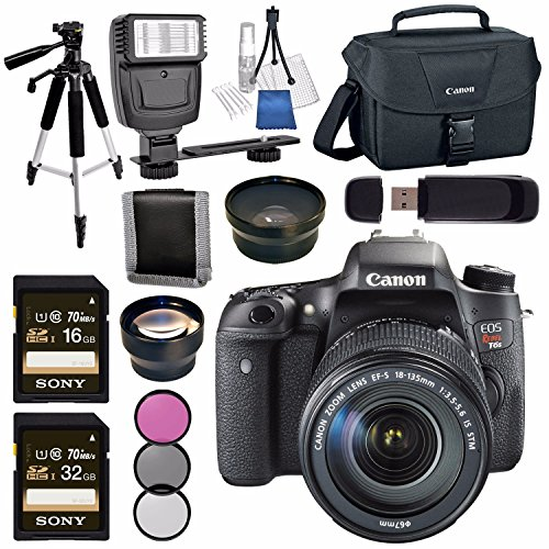 Canon EOS Rebel T6s DSLR Camera With 18 135mm Lens 58mm Wide Angle 2x 100ES Shoulder Bag Bundle Price In India 16 Feb 2019
