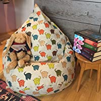 Kids bean bag chair Linen beanbag cover Elephant print Natural fabrics pouf Eco friendly colorful floor pillow for kids With Insert Filling is not included