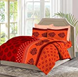 Bombay Dyeing Celiosa 120 TC Cotton Double Bedsheet with 2 Pillow Covers - Red