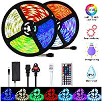Mowetoo LED Strip Lights, 10M 300LEDs 5050 Color Changing RGB SMD with 44-Keys Remote Control, IP65 Waterproof 12V Power Decoration for Kitchen Wedding Party Garden House [Energy Class A+]