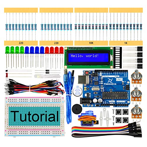 Freenove LCD 1602 Starter Kit with Uno R3 (Arduino-Compatible), 118 Pages Detailed Tutorial, 152 Items, 23 Projects, Solderless Breadboard