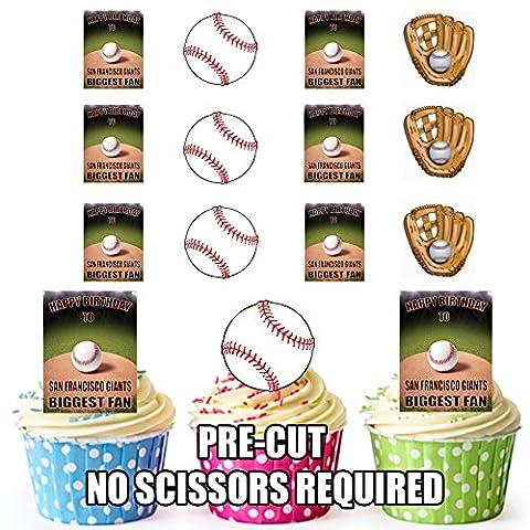 prédécoupés San Francisco Giants Biggest Fan–Baseball, Joyeux anniversaire pour gâteaux (lot de 12)