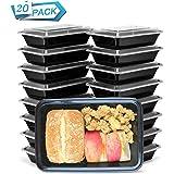 HENSHOW 1 Compartiment Boite Repas Lot de 20Pcs, 1000L Prime Réutilisable sans BPA Boite à Lunch Micro Onde, Congélateur…