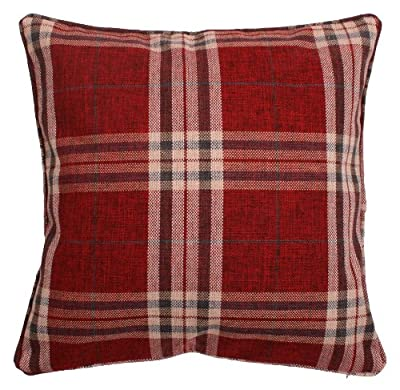 Hugo Tartan Check Woven Cushion Cover 43cm x 43cm - Wine - cheap UK light store.