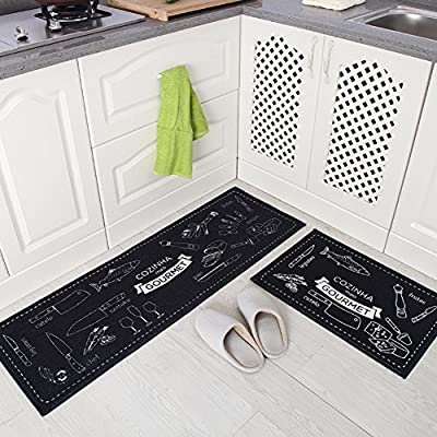 Indeedshare Kitchen Rugs Rubber Backing Decorative Non-Slip Doormat Runner Area Entrance Mats Sets 2 Pieces - inexpensive UK light shop.