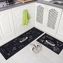 indeedshare cocina alfombra decorativa de refuerzo de goma antideslizante Felpudo alfombra área entrada mats conjuntos 2piezas