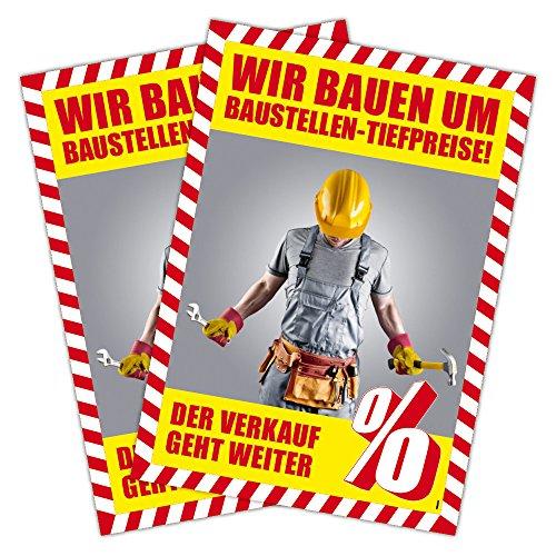 "2 Stück Plakat \""Räumungsverkauf wegen Umbau Baustellen-Tiefpreise!\"" DIN A1 (841x594mm Kundenstopperformat)"