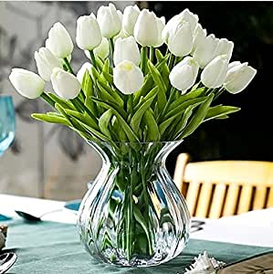 "Calcifer® 12 Pezzi (un set) 13,8 ""New Beautiful PU mini mazzo di tulipani fiori artificiali per decorare casa/matrimonio White"