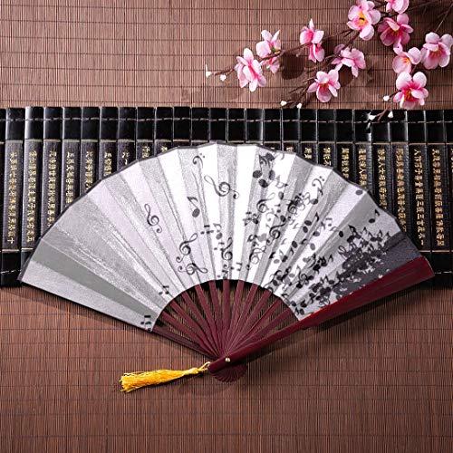 ambus Farbe Musik Poster Karte Mit Bambus Rahmen Quaste Anhänger Und Stoffbeutel Chinesischen Fan Für Männer Fan Hand Beste Hand Fan ()