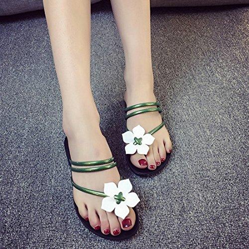Vertvie Femme Fille Été Fleur Tongs Sandales Plage Flip Flop Bout Ouvert Pantoufles Gêlées Bohème Vert 1