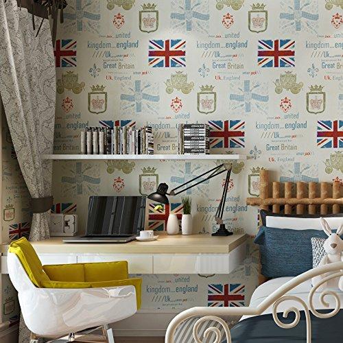 BBSLT In stile retrò wallpaper di Inghilterra bandiera alfabeto ragazzi bambini camera da letto studio
