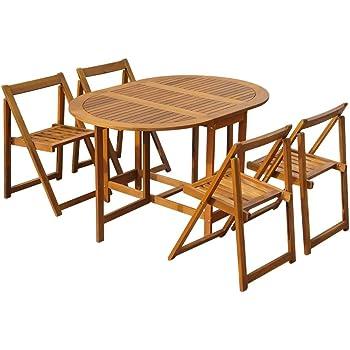 Tavolo Da Giardino Con 4 Sedie.Set Tavolo Da Esterno Giardino In Legno Con 4 Sedie Richiudibili All