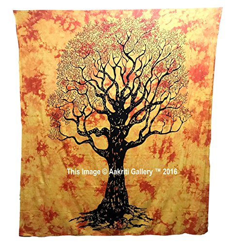 Dry tree tapestry hippie mandala bohemian psychedelic intricato indiano copriletto 233,7 x 208,3 cm aakriti gallery orange