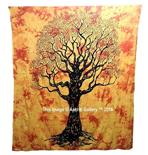 Dry tree tapestry hippie mandala bohemian psychedelic intricato indiano copriletto 233,7x 208,3cm aakriti gallery orange