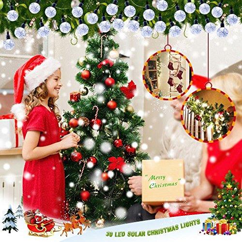 lederTEK, Solar Lichterkette 6m 30 LED Kugel Außenlichterkette Wasserdicht mit Lichtsensor Weihnachtsbeleuchtung, Beleuchtung für Haushalt, Außen, Party, Hochzeit, Weihnachten