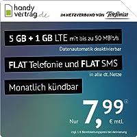 handyvertrag.de LTE All 5 GB + 1 GB - monatlich kündbar (Flat Internet 6 GB LTE mit max. 50 MBit/s mit deaktivierbarer…