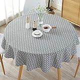 Mantel de estilo nórdico simple, manteles redondos para mesa circular, a prueba de polvo, de algodón y lino, para mesa de bufé, fiestas, cena de vacaciones, Gray Arrow, Tamaño libre