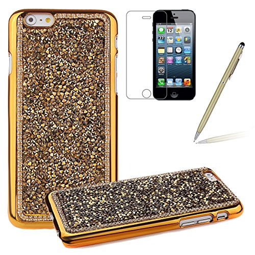 iPhone 6 Bling Hart Case - Felfy Apple iPhone 6 4,7 Zoll Diamant Luxus Kristall Strass Glitzer Shining Hard Back Cover Schale Handy Tasche Etui Hülle Protection + 1x Silber Stylus + 1x Screen Protecto Gold