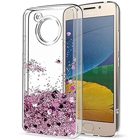 Moto G5 Liquid Case with HD Screen Protector for Girls Women,LeYi Cute Shiny Glitter Moving Quicksand Clear TPU Full Body Protective Phone Case for Motorola Moto G5 ZX Rose Gold