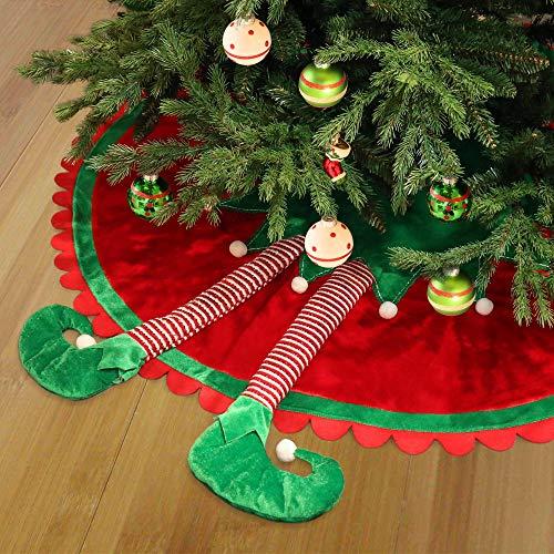 Valery Madelyn Weihnachtsbaum Decke 90 cm Stoff Weihnachtsbaum Rock Weihnachtsbaum Weihnachtsschmuck Dekoration Weihnachtsdeko für Weihnachten Klassische Serie Thema Rot Grün Weiß MEHRWEG Verpackung