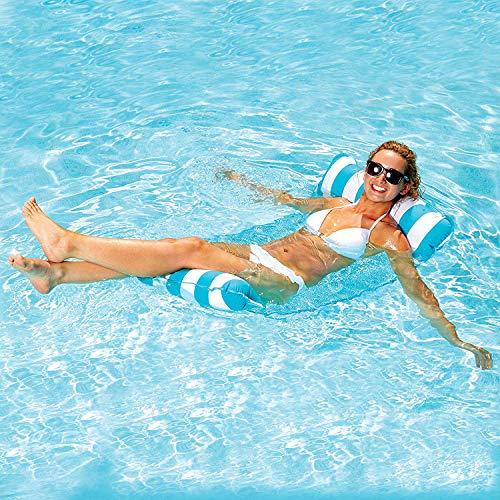 7WUNDERBAR Luftmatratze Aufblasbarer Wasserhängematte Pool Lounge Hängematte Wasseriege Faltbares schwimmende Bett Wasser Sofa (Hellblau)
