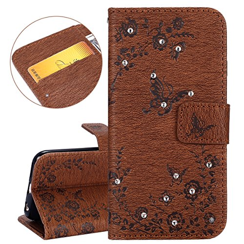 Custodia iPhone 6, ISAKEN Custodia iPhone 6S, iPhone 6 Flip Cover, Elegante borsa Dente di leone Design Custodia in Pelle Protettiva Portafoglio Case Cover per Apple iPhone 6 4.7/ con Strap / Support Diamante: marrone